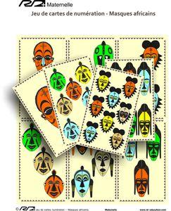 Jeu de cartes de numération masques africains maternelle