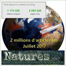 Le site NATURES : 2 millions d'articles lus ! (19 juillet 2017)
