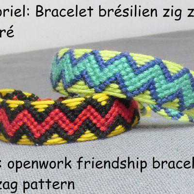Tutoriel et patron: bracelet brésilien motif zig zag ajouré