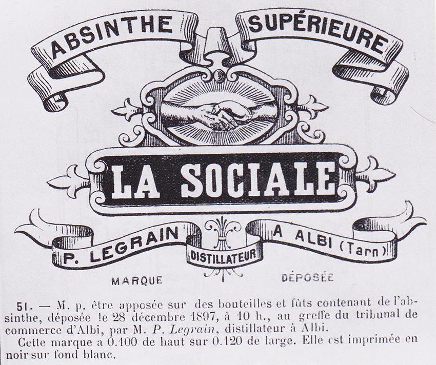 Marque pour être apposée sur des bouteilles et fûts contenant de l'absinthe, déposée le 28 décembre 1897, à 10 h., au greffe du tribunal de commerce d'Albi par M. P. Legrain, distillateur à Albi. Doc. Delahaye.