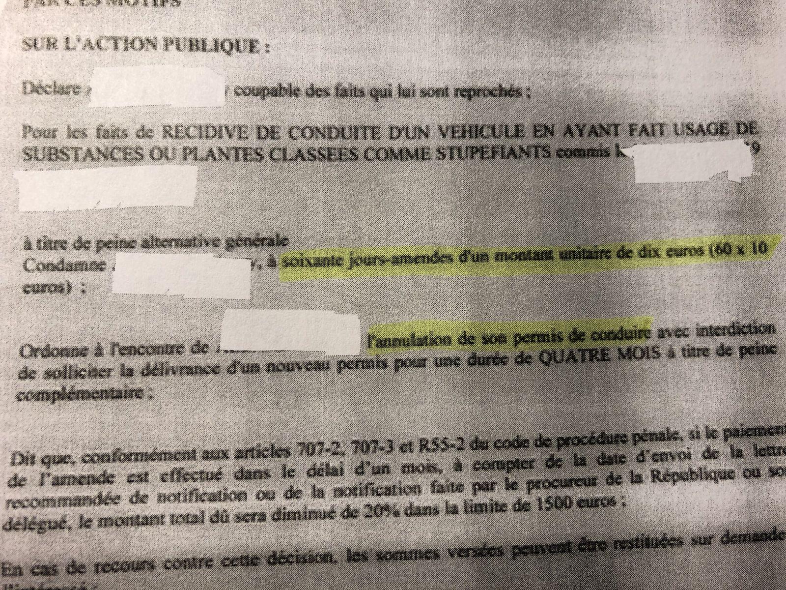 ordonnance pénale annulation du permis de conduire