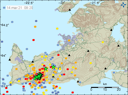 Reykjanes Peninsula - location and magnitude of earthquakes as of 14.03.2021 / 08:20 - Doc.IMO