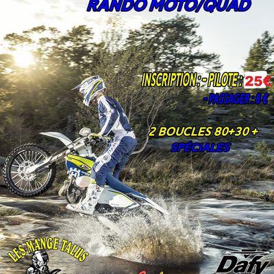 """Rando moto-quad """"La Mange Talus"""" le samedi 12 octobre 2019"""