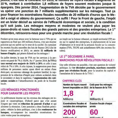 MARCHE POUR LA JUSTICE FISCALE LE 1erDECEMBRE A PARIS