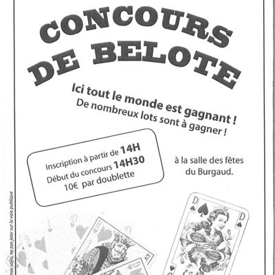 CONCOURS DE BELOTE DIM 29 MARS