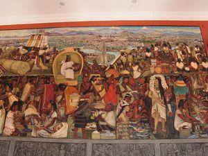 Les fresques de Diego Rivera, peintes entre 1929 et 1935 racontent l'histoire du Mexique