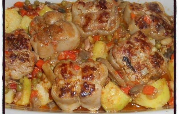 Paupiettes de porc aux légumes