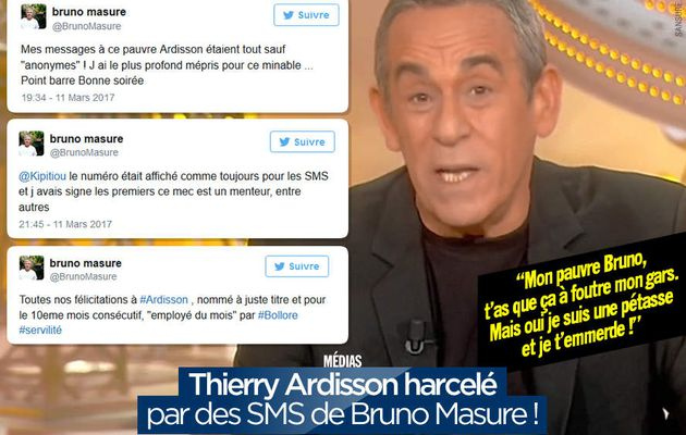 Thierry Ardisson harcelé par des SMS de Bruno Masure ! #clash