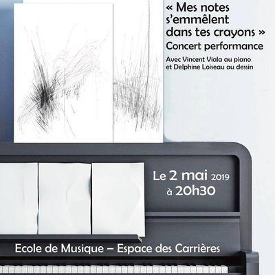 Mes notes s'emmêlent dans tes crayons - Concert performance avec VINCENT VIALA et DELPHINE LOISEAU le 2 mai à ORMES