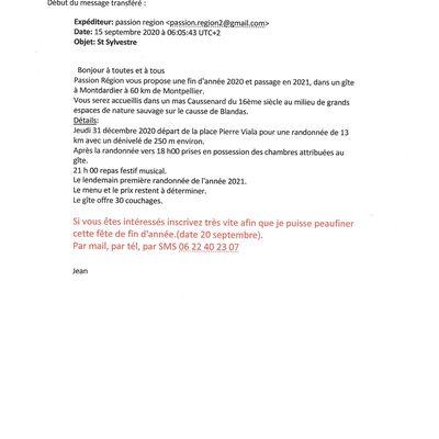 REVEILLON DU 31 DECEMBRE 2020 AVEC NOS AMIS DE PASSION REGION.