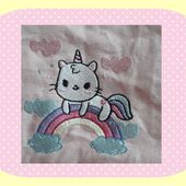 Broderie Chat licorne - Laine-et-Chiffons