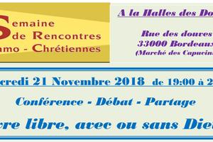 SERIC 2018 : BORDEAUX - « Vivre libre ? Avec ou sans Dieu ? », le 21 novembre