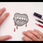 Como dibujar una boca de vampiro paso a paso   How to draw a vampire's mouth