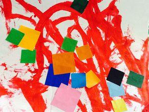Séance de peinture et collage pour tout petits (avec les miss de deux ans)