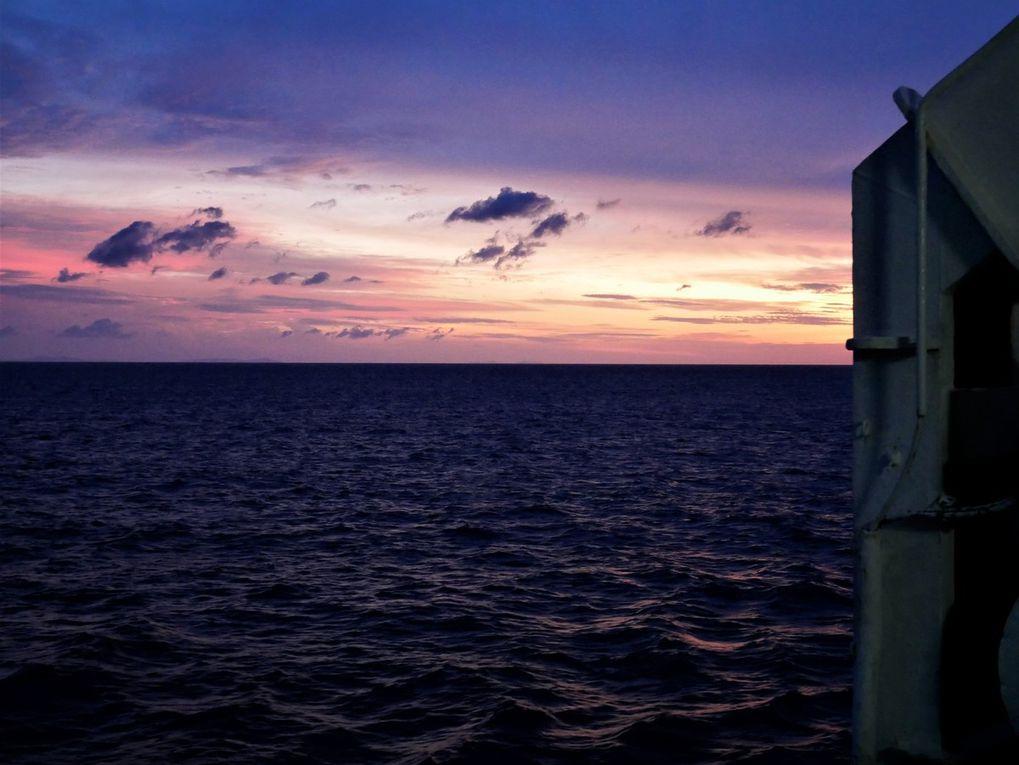 """Leitimur, c'est le nom de la  presque-île au sud d'Ambon que les ferrys longent, en arrivant des Banda au petit jour. Le coin n'est pas très touristique, même si les fonds sont clairs et poissonneux. Les villageois vivent de la pêche qu'ils vont vendre dès le déchargement du bateau au marché d'Ambon, en prenant un bemo public. On y trouve aussi de nombreuses briqueteries. Les habitants de Latuhalat ( """" roi de l'ouest """" ) se retrouvent encore dans leur maison commune, le baileu. Le dimanche,  quelques chrétiens d 'Ambon  ( plus de 300 000 habitants ) viennent passer la journée sur les plages, on sort l'alcool de palme mélangé à du seven  up ! Dernière photo: la côte nord de Leitimur, vue d'avion."""