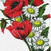 Poppies and daisies photo stitch free embroidery design