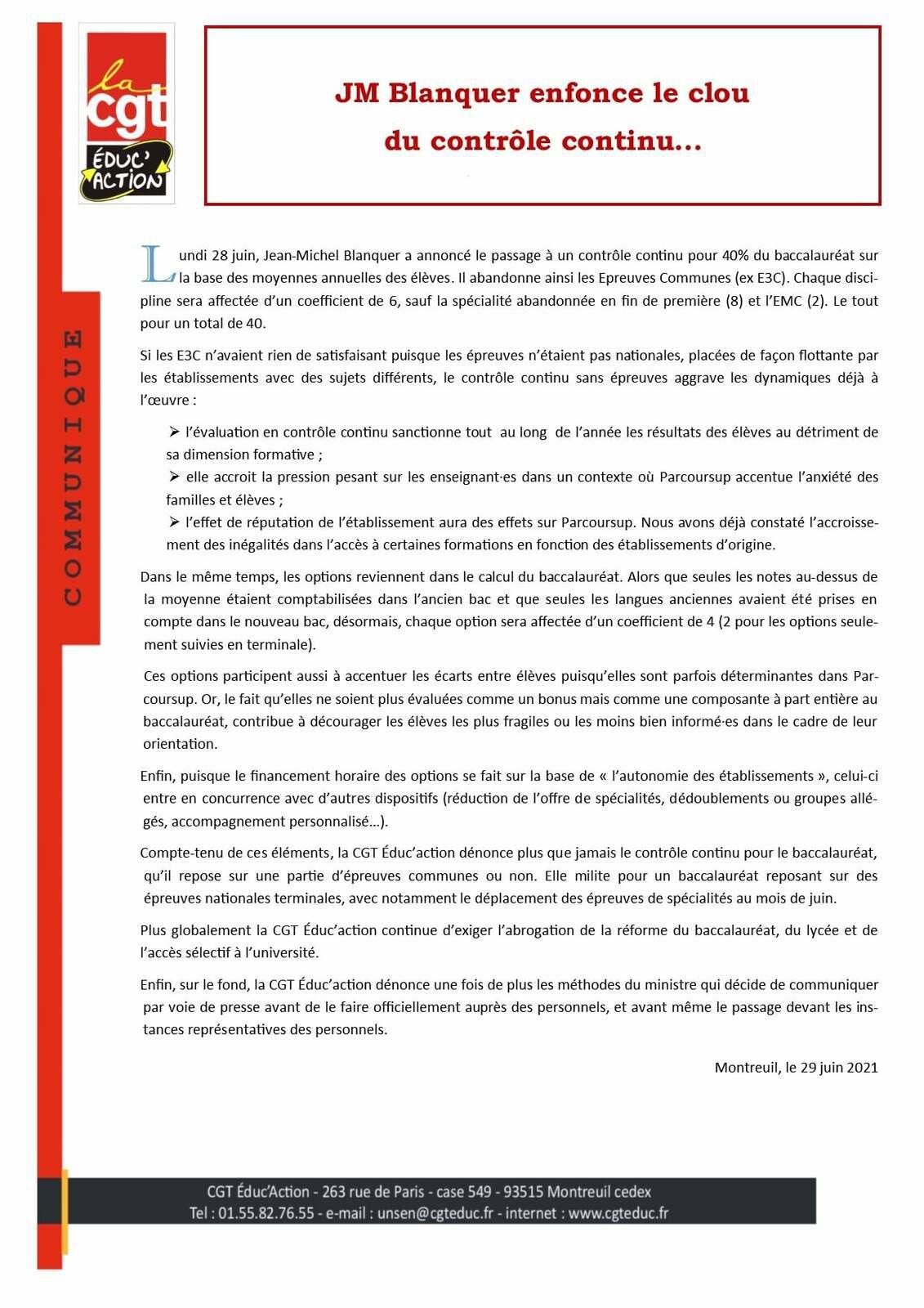 Jean-Michel Blanquer enfonce le clou du contrôle continu