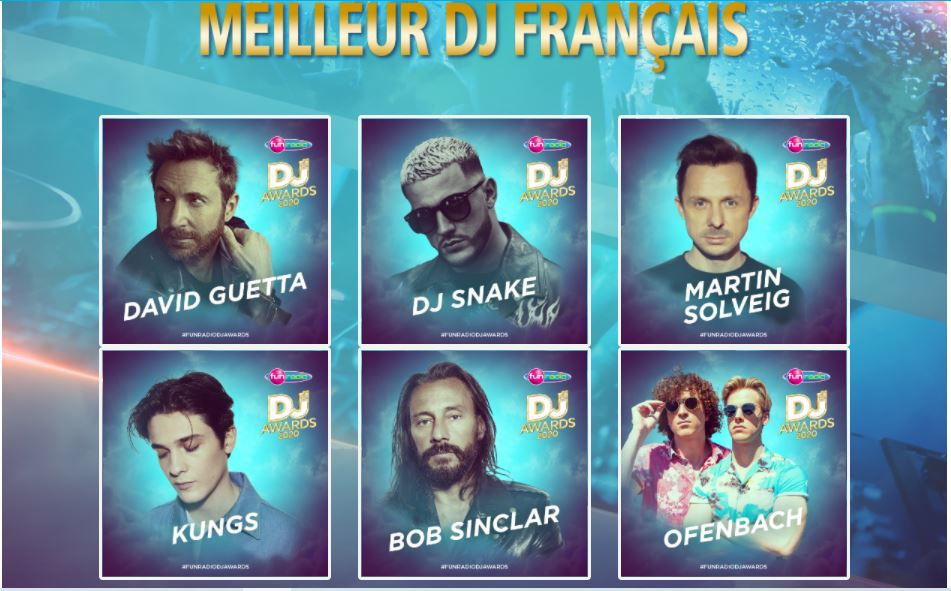 fun radio dj awards 2020, best dj french, meilleur dj français