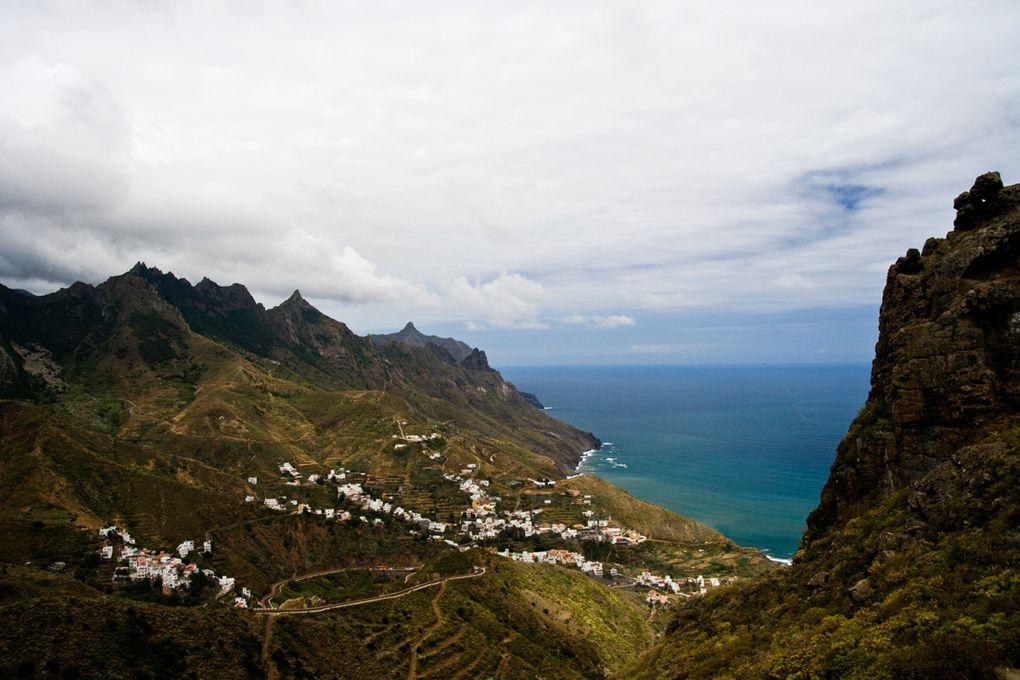 Au nord-est de Ténérife, soumis aux Alizés, l'Anaga est 1 massif humide, dont les hauteurs sont souvent dans la brume. Altitude 1000m.
