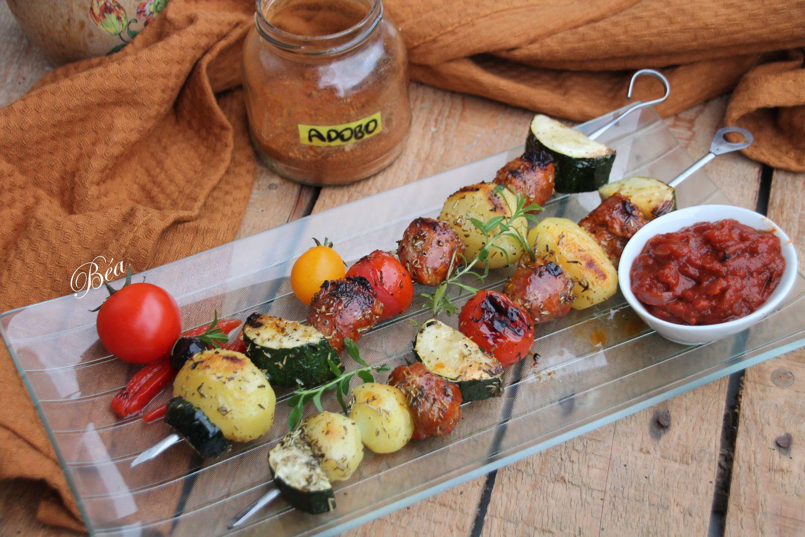 Brochettes de légumes au chorizo frais