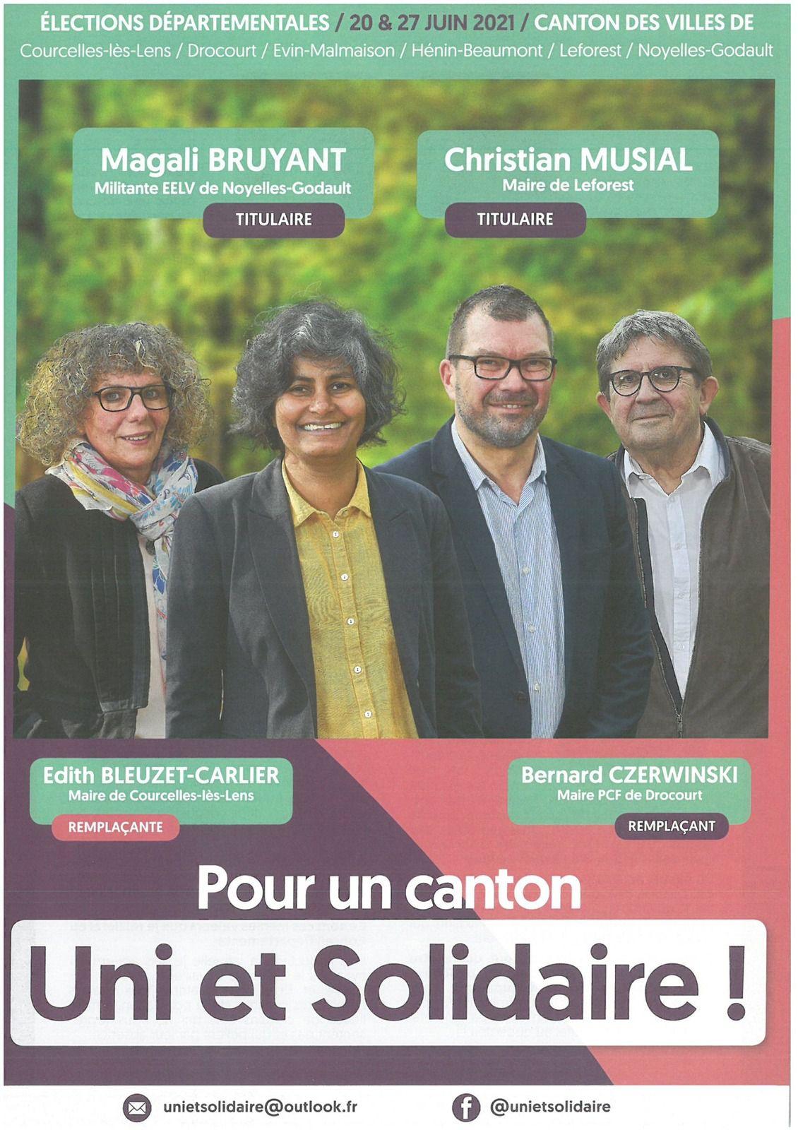 Elections départementales 2021 : le premier tract de campagne des candidats du canton d'Hénin-Beaumont 2