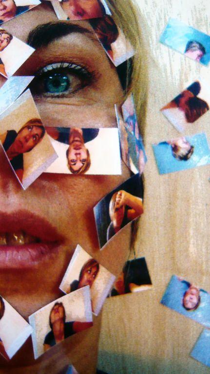 Autoportraits multiples sur autoportrait unique : photographies couleurs sur photographie couleur. (30/21 CM)(comment se prendre la tête???)