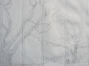 le chêne Encre de Chine 30x21  Esquisses pour un paravent. Bhavsar