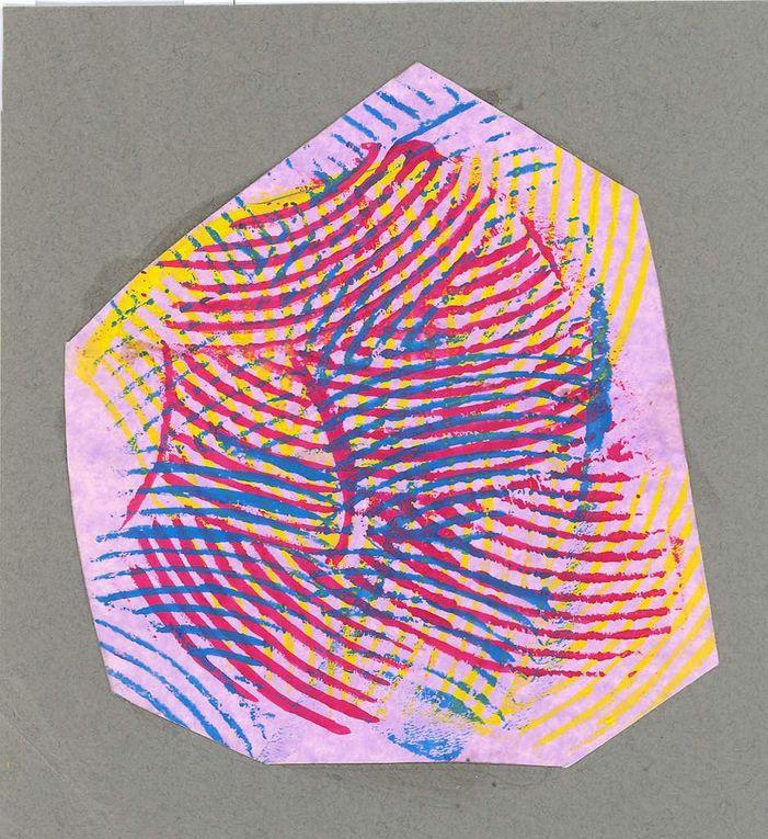 Impressions peinture acrylique sur papiers colorés formats divers