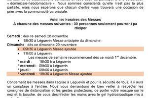 Agenda des messes dès le 28/11