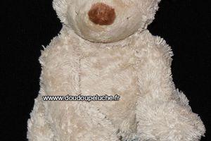 Doudou peluche ours Happy horse beige ,museau marron, 33 cm