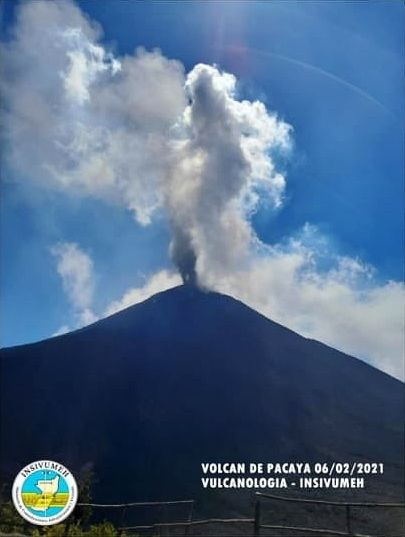 Pacaya - gas and ash plume from 06.02.2021 - Doc. Insivumeh