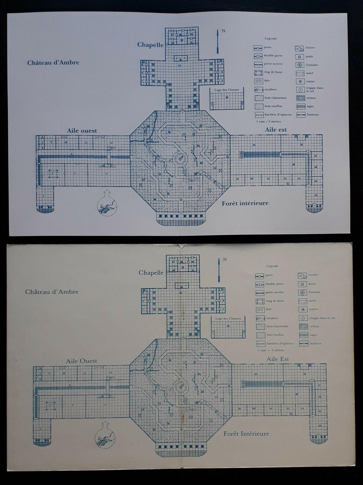 Le plan à l'intérieur de la couverture (en haut la restauration, en bas l'original)