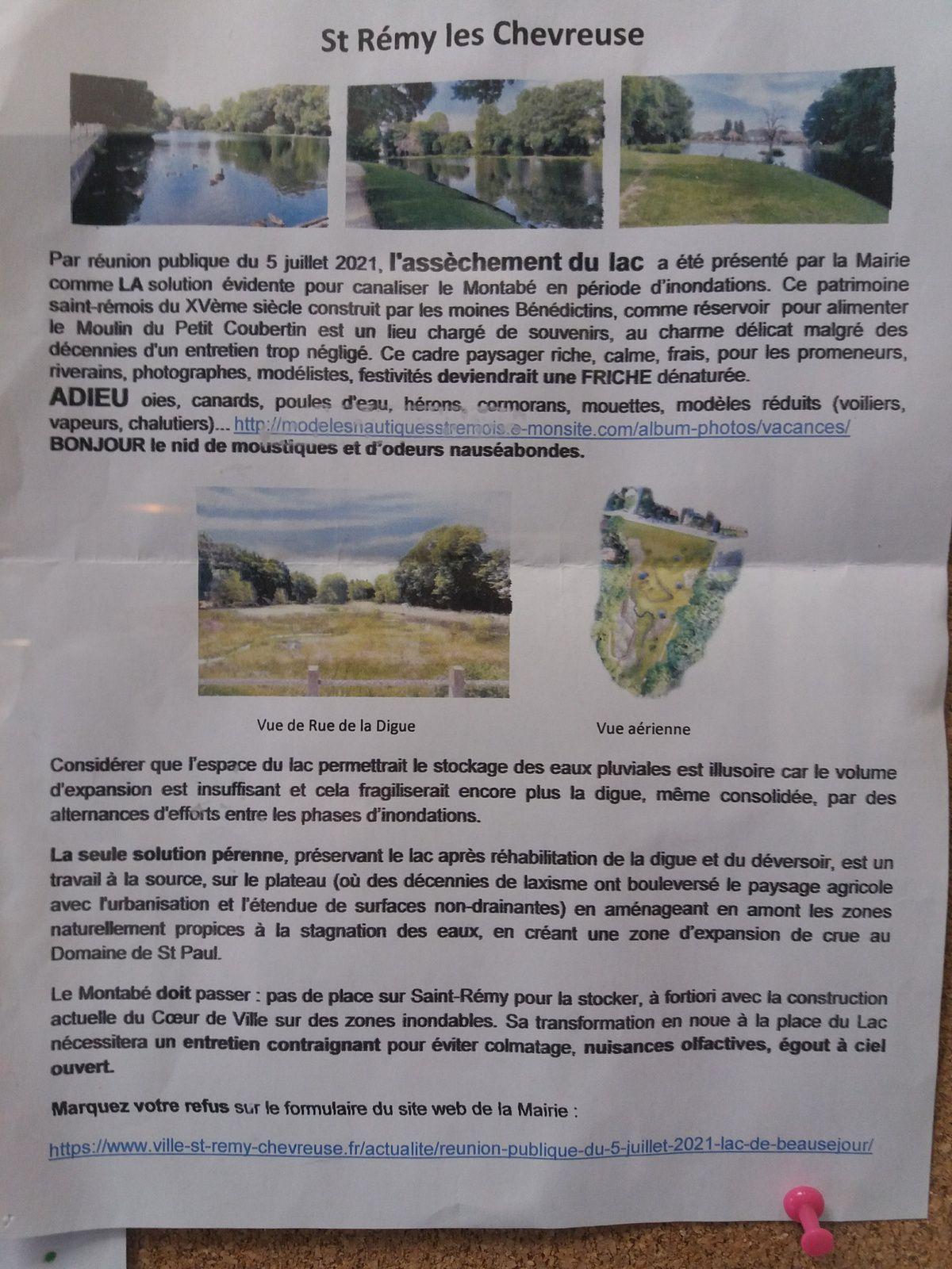 """"""" flyer"""" annonçant l'assèchement du lac du XV siècle de Saint-Rémy-lès-Chevreuse"""