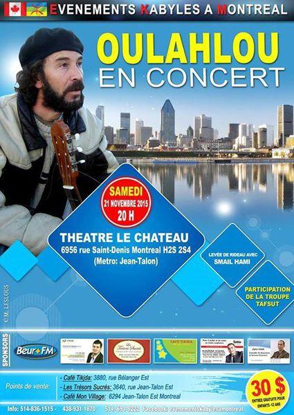 Oulahlou en concert à Montréal le 21 novembre