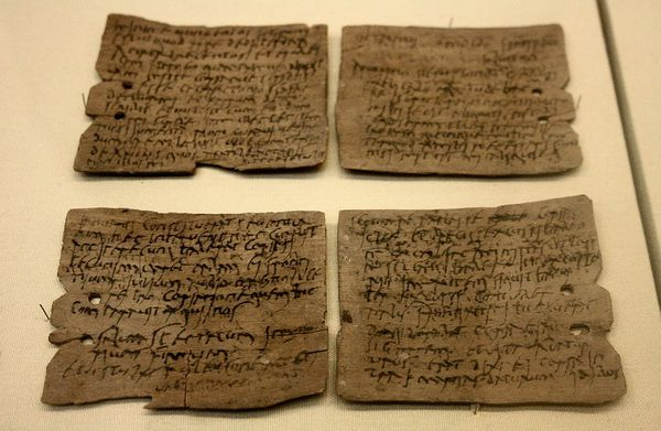 Roman writing tablet from the Vindolanda Roman fort of Hadrian's Wall, in Northumberland (1st-2nd century AD). Tablet 343: Letter from Octavius to Candidus concerning supplies of wheat, hides and sinews. British Museum (London)