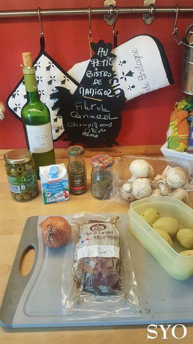 Filet de Canard aux Champignons et Olives vertes