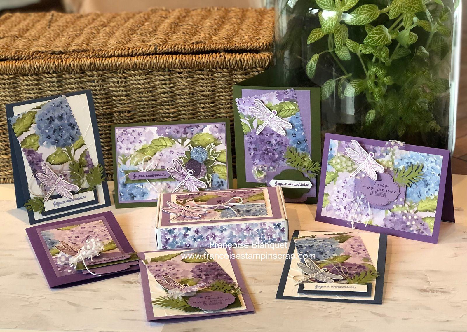 """Créer 7 cartes et une boite avec 1 feuille de Papier Design """"colline d'Hortensias"""" hydrangea hill paper Stampin'up"""