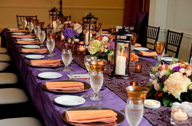 Mariage en couleur pêche et violet