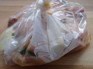 Brochettes de poulet et poitrine marinées à l'orange pressée