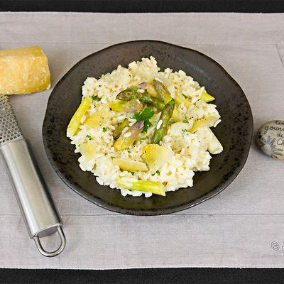 Risotto d'asperges blanches et verrtes