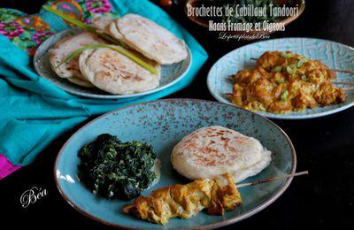 Brochettes de cabillaud tandoori et naans au fromage et à l'oignon - balade indienne dans le désert du Thar