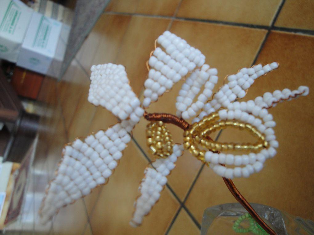 Scoubidous, bracelets brésiliens, crocodile en perles, broche en perles, Miniatures perles, Rang-sac (couture), dentelle aux fuseaux, épingles à cravates, fleurs en perles, bonzai en fleurs en perles, sapin de noël (couture), composition florale, peinture sur verre, range-pyjama (cygogne blanche), canapé pour boite de mouchoirs