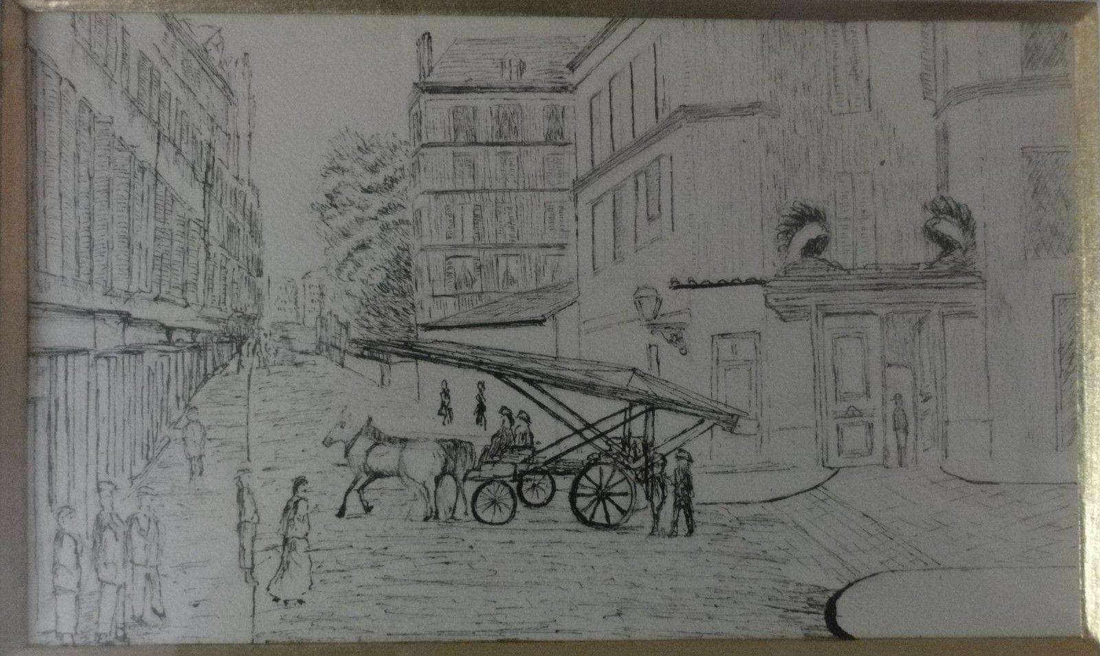 dessin a l'encre représentant l'ancienne caserne des sapeurs pompiers du Havre