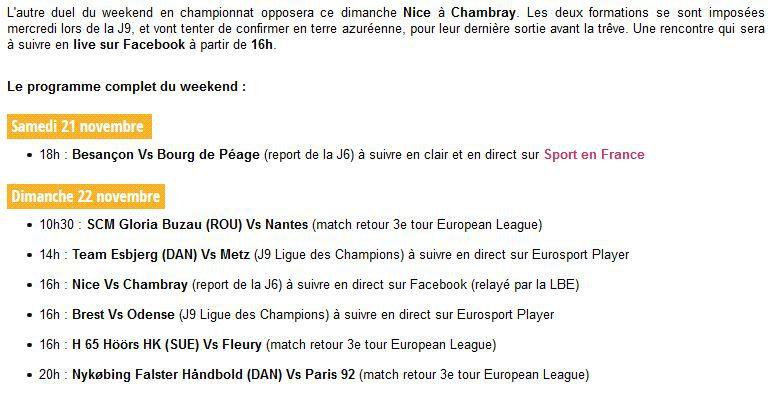 Besançon / Bourg de Péage (Ligue Féminine Butagaz) en direct samedi sur Sport en France !