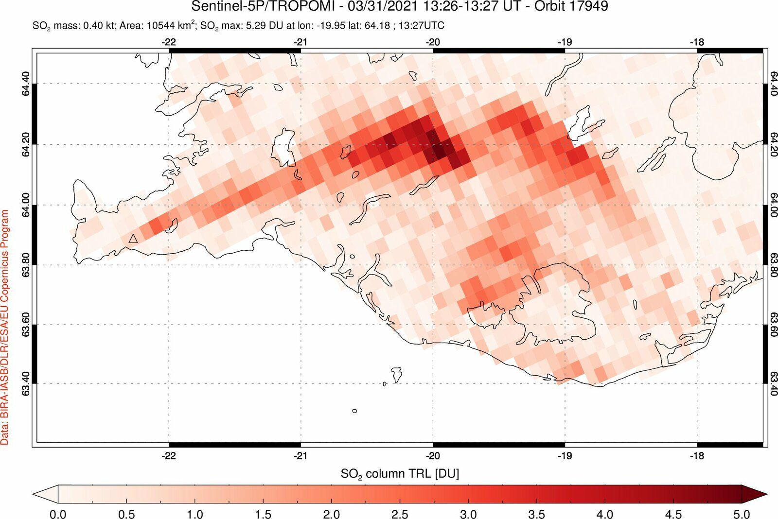 Geldingadalgos - émisssion de SO2 du 31.03.2021 - image Sentinel 5P Tropomi 13h26-13h27 - via S.Carn