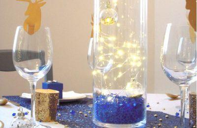 Décoration Noël bleu nuit et or