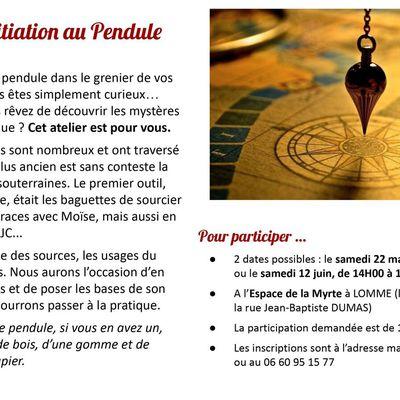 ATELIER D'INITIATION AU PENDULE avec EVA ALCAIDE samedi 22/05 ou 12/06 14h /16h