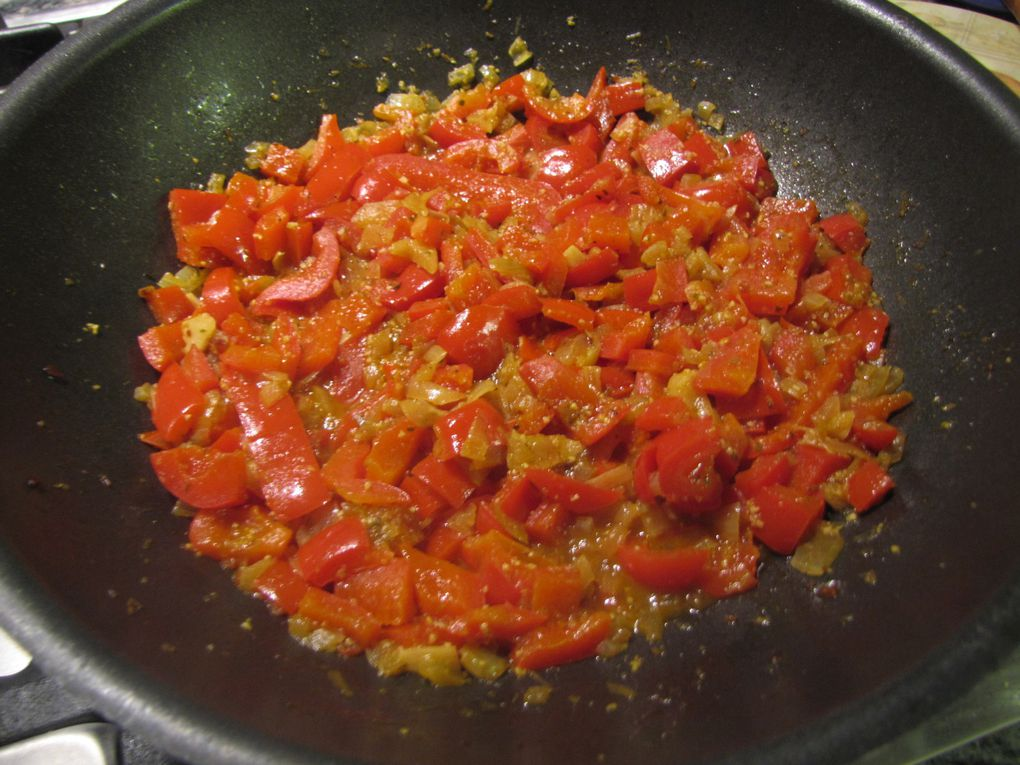 Spaghetti à la crème de poivrons