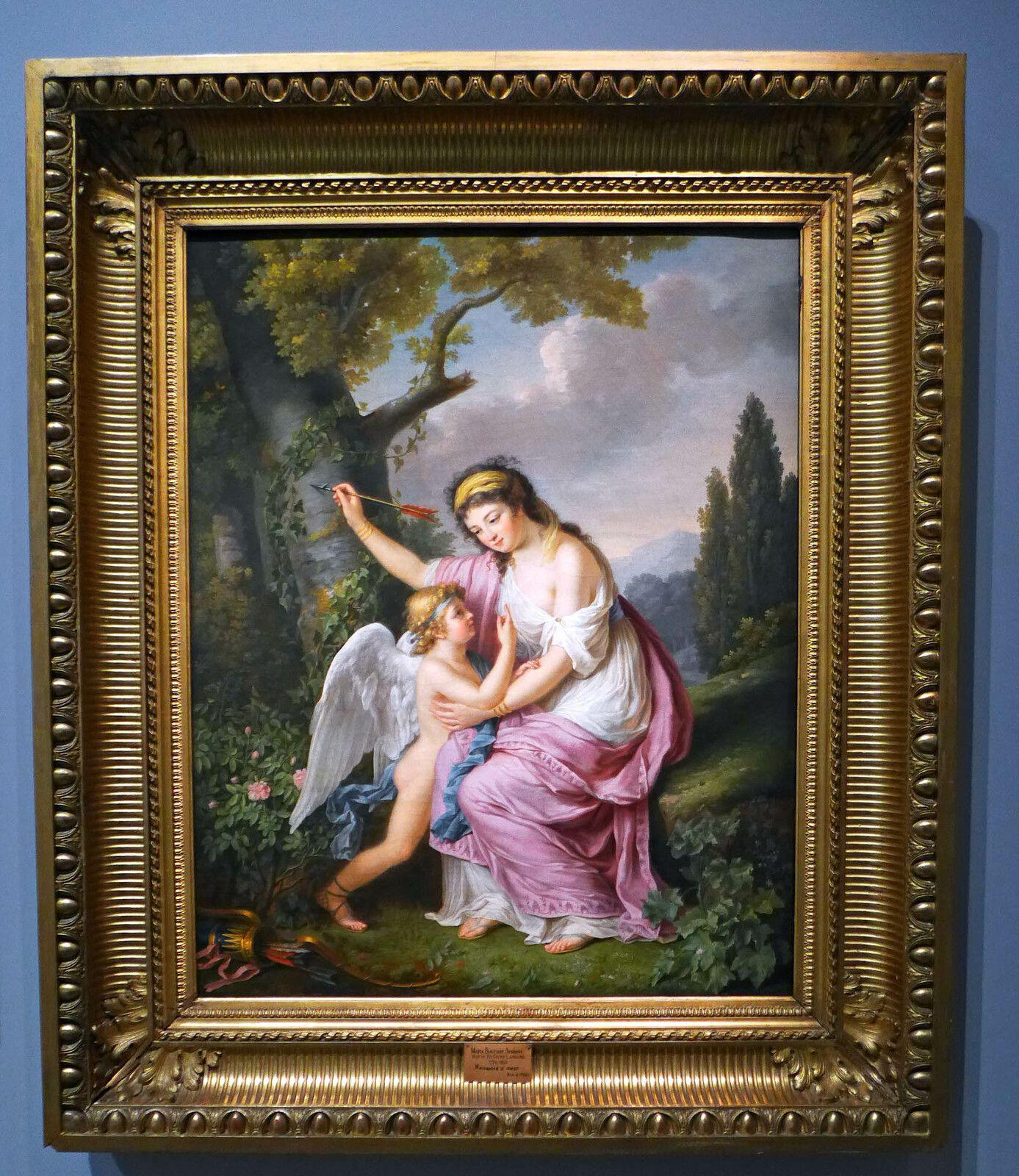 Marie-Victoire LEMOINE, Femme et Cupidon (1792), huile sur toile. Russie, Saint-Pétersbourg, musée d'Etat de l'Ermitage.