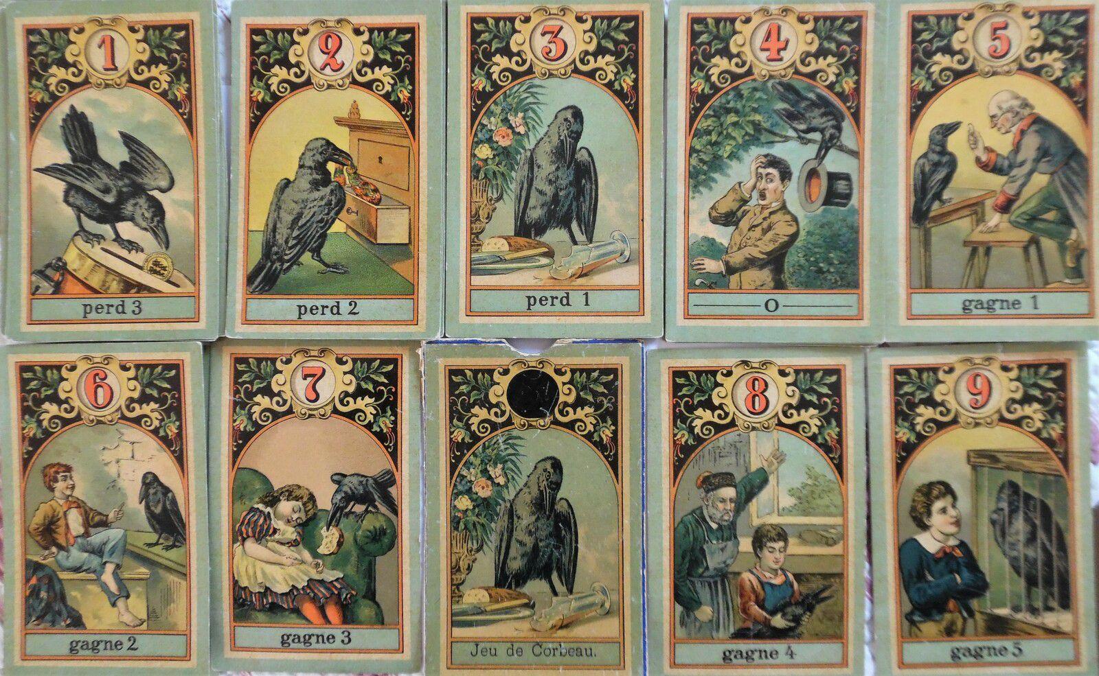les différentes cartes du jeu du corbeau